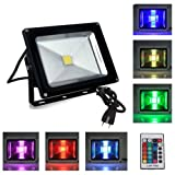 Redtag Lighting 20W Waterproof Outdoor Security LED Flood Light Spotlight High Powered RGB Color Change(16 Different Color Tones) with Plug and Remote Control AC85V-265V, with 1 meter power plug