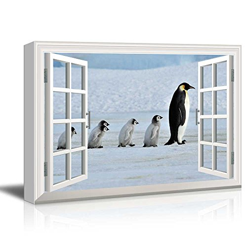 - wall26 - Canvas Wall Art - Window Peering into The Arctic with a Family of Penguins - Giclee Print Gallery Wrap Modern Home Decor Ready to Hang - 16x24 inches