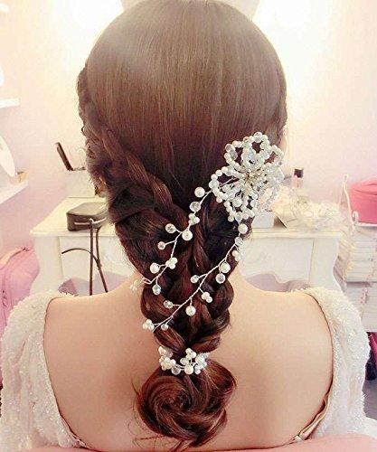 usongs Korean tidal models bridal jewelry handmade crystal white pearl red head flower headdress hair accessories wedding accessories