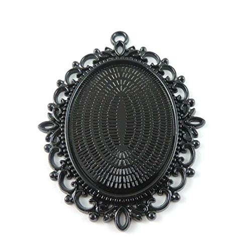Vintage Style Bronze Tone Alloy Lace Cameo Setting Tray Charms Pendants (MPN - 38788-Black-4pcs)