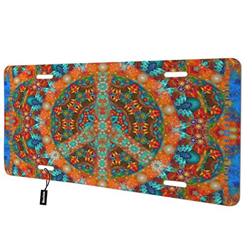 Beabes Peace Sign Front License Plate Cover,Colorful Pattern Abstract Art Decorative License Plates for Car,Aluminum Novelty Auto Car Tag Vanity Plates Gift for Men Women 6x12 Inch