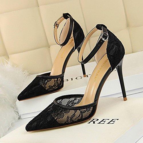 Rose Heeled New red Low Heel Black Shoes ZHANGYUSEN Yx6qgw6