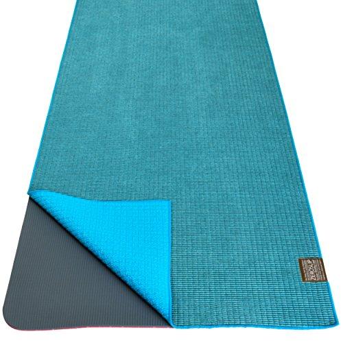 Dusky Leaf Zeroslip Hot Yoga Towel - Aqua Blue