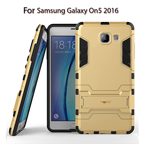 Heartly Graphic Kickstand Hard Dual Rugged Armor Hybrid Bumper Back Case Cover for Samsung Galaxy On5  2016    Mobile Gold