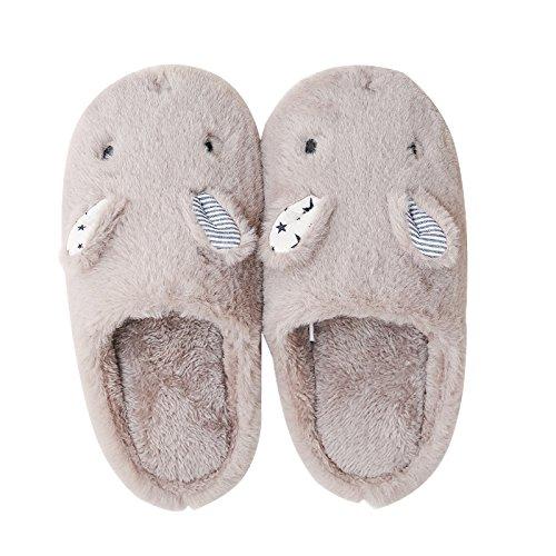 CWAIXXZZ pantofole morbide Autunno Inverno uomini e donne matura Home Home Il cotone pantofole di peluche morbido al coperto, i piedini antiscivolo per 19.5cm ,2XS210, grigio