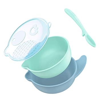 TRAVEL BABY FEEDING BOWL WITH LID AND SPOON MICROWAVEABLE TRAVELLING SNACKS