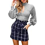 Spbamboo Women Solid Turtleneck Blouse Knit Crop Tops Chic Navel Sweater Shirt