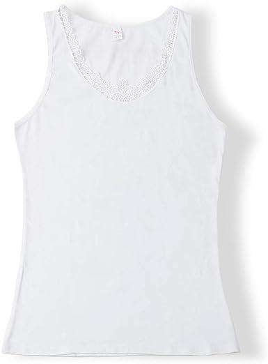 Camiseta sin Mangas de Encaje sin Mangas para Mujer Camiseta Ajustada con algodón Premium - Diseño Italiano Ultra Suave