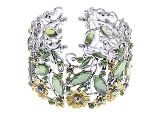 Alilang Womens Silvery Tone Light Green Rhinestones Floral Golden Flowers Caged Cuff Bracelet (Colored Rhinestone Costume Jewelry)