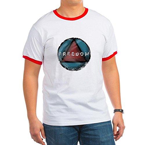 CafePress - Freedom - Ringer T-Shirt, 100% Cotton Ringed T-Shirt, Vintage Shirt Red/White