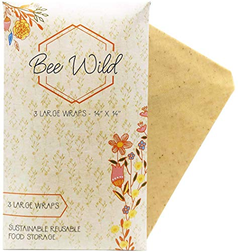 Bee Wild Co.: Beeswax Wraps - Plastic Wrap Alternative - 100% Biodegradable Ingredients - Natural Honey Scent - Reduce Your Use of Plastic - Reusable - Proceeds Donated to Bee-Protecting Charities (Eco Wrap)