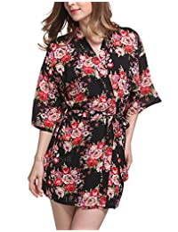 Camellia12 Women's Floral Kimono Robe Cotton Bridesmaid Honeymoon Beach Spa Robe