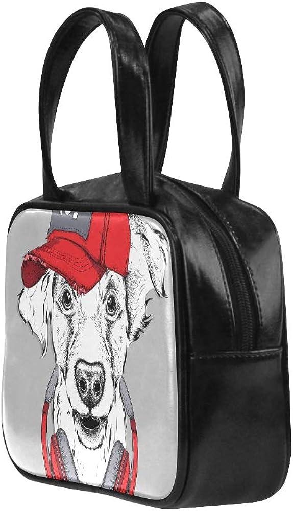 Woman Hiking Bag Happy Animal Dog Enjoy Music Carton Tote Shoulder Bag Man Tote Bag Pu Leather Top Handle Satchel Fashion Traveling Bags