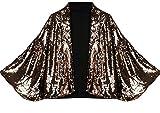 WSPLYSPJY Womens Fashion Sexy Sequins Batwing Sleeve Outerwear Blazers Golden M