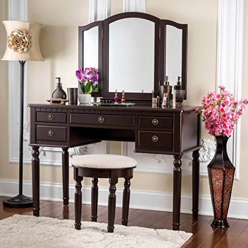 Fineboard Dressing Set with Stool Beauty Station Makeup Table Three Mirror Vanity Set, 5 Organization Drawers, Brown