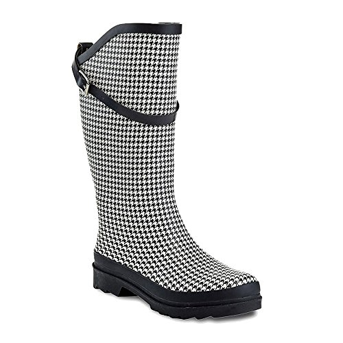 Henry Ferrera Women's Nu Face Waterproof Buckle Trendy Puddles Rainboots (9 B(M) US, Houndstooth)