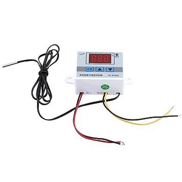 XH-W3002 Controlador de Temperatura Digital DC 24V Termostato Precableado con Sensor Impermeable, 2