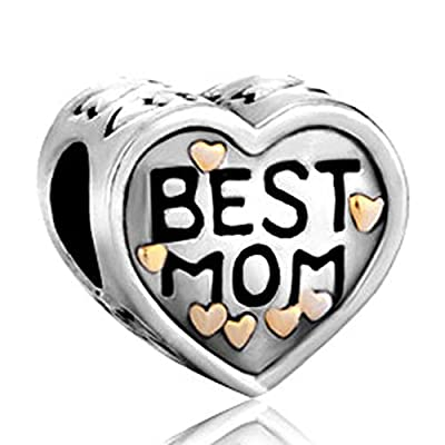 """Best Mom"" Heart Love Mother Bead Fit Pandora Charms Bracelet"