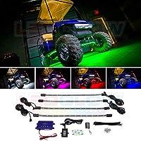 LEDGlow 4pc. Kit de luz debajo de la luz debajo del cuerpo del carrito de golf LED de millones de colores - Tubos flexibles resistentes al agua - Incluye control remoto inalámbrico