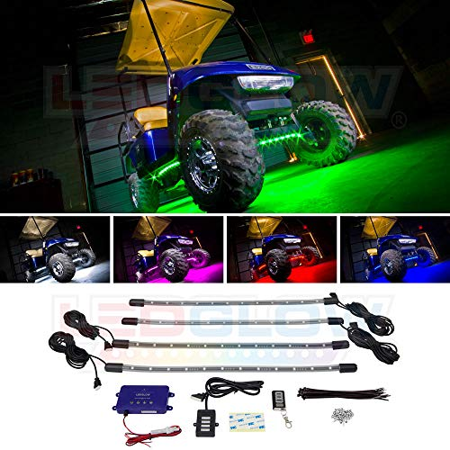 LEDGlow 4pc Million Color LED Golf Cart Underbody Underglow Accent Neon Light Kit for EZGO Yamaha Club Car - Water Resistant Flexible Tubes - Includes Control Box & Wireless ()
