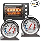 Instant Read Oven Thermometer - Stainless Steel Grill/Smoker Thermometer That Hangs, Displaying Precise Temperature for Kitchen Cooking Baking Roasting Smoking Warming BBQ,2 Pack