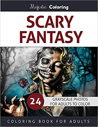 Amazon Scary Fantasy Grayscale Coloring For Adults 9781534676770 Majestic Books