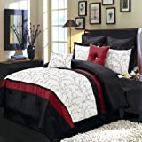 Atlantis Ivory, Red and Black Queen size Luxury 12 piece comforter set includes Comforter, bed skirt, pillow shams, decorative pillows, flat sheet, fitted sheet, standard pillowcases.