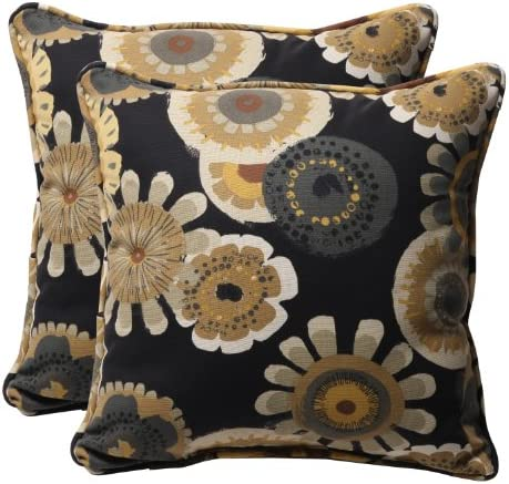 Pillow Perfect Outdoor Indoor Crosby Ebony Throw Pillows, 18.5 x 18.5 , Black, 2 Pack