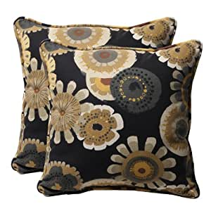 """Pack of 2 Eco-Friendly Recycled Black/Yellow Floral Outdoor Throw Pillows 18.5"""""""