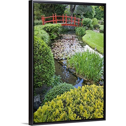 (William Sutton Floating Frame Premium Canvas with Black Frame Wall Art Print Entitled Ireland, County Kildare, Japanese Garden and Bridge 20