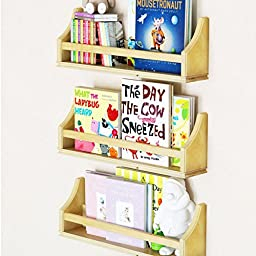 Set of 3 Stylish Baby Nursery Room Wall Shelf 20 Inch Sturdy Birch Wood Natural Brown Wood Color