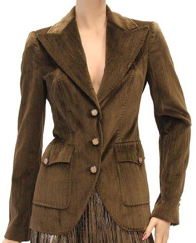 Dolce & Gabbana Womens Jacket Coat Dark Olive Silk, 38, -