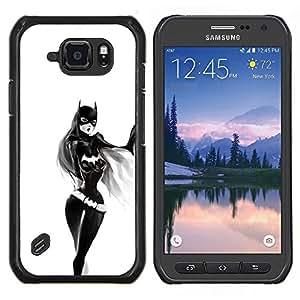 Chica Sexy Bat- Metal de aluminio y de plástico duro Caja del teléfono - Negro - Samsung Galaxy S6 active / SM-G890 (NOT S6)