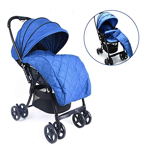Wonder buggy Lightweight Baby Stroller with Reversible Handle and Detachable Footmuff, 5-Point Safety Harness, Multi-Position Reclining Seat, Easy Foldable and Collapsible, Blue