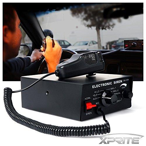 Xprite 100 Watt 7 Tones Emergency Warning Siren PA System Kit w/ Handheld Microphone ( Speaker Not Included (120 Watt Microphone Pa Amplifier)
