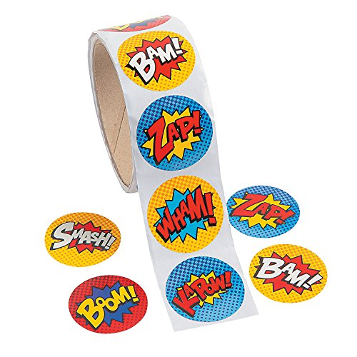 Fun Express Superhero Stickers (100 Stickers Per Roll) -