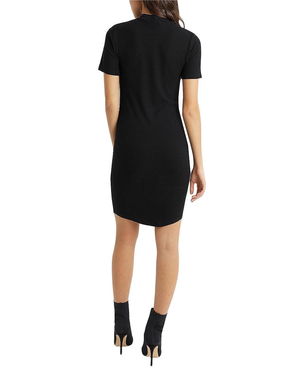 Lipsy Mujer Vestido De Cuello Subido De Canalé Negro EU 34 (UK 6 ...