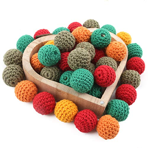 (Baby Love Home Wooden Crochet Beads Teething 50pc Christmas Mix Color Baby DIY Teether Necklace Accessories for)
