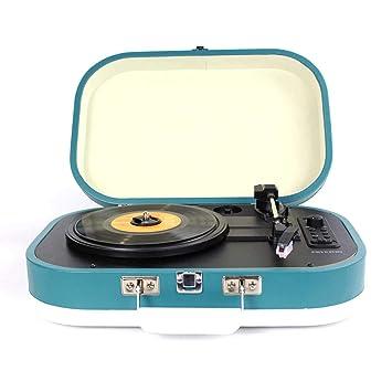 PRIXTON - Tocadiscos de Vinilos Vintage y Reproductor mp3 de Musica Mediante Bluetooth y USB, 2 Altavoces Incorporados, Diseño de Maleta, Color Morado ...