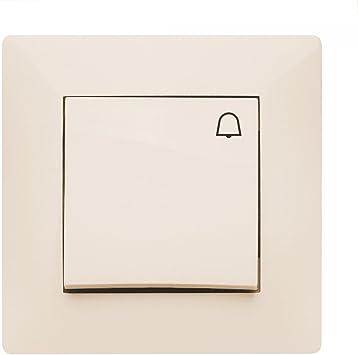 Toma de corriente Schuko Interruptor pulsador interruptor de luz Interruptor Volante Crema Uso + Marco + Protectora: Amazon.es: Bricolaje y herramientas