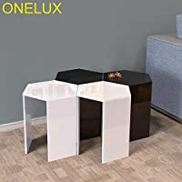 ONELUX (2pcs/lot) Hexagon Acrylic Sofa Table,Lucite Occasional Small Tea Tables (2PCS BLACK)