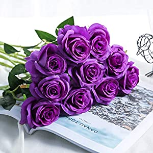 Bringsine Premium Artificial,Real Touch Pu Silk Rose Fake Flowers Home Decorations for Bridal Wedding Bouquet,Birthday Bunch Hotel Party Garden Floral Decor-Purple 2