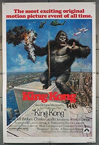 - King Kong (1976) Original Paramount Pictures One-Sheet Movie Poster 27x41 Folded Fine Plus Condition JESSICA LANGE JEFF BRIDGES CHARLES GRODIN Film Directed by JOHN GUILLERMIN