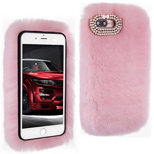 Handmade Faux Fur - iPhone 7 Plus Case,Veatool Stylish Faux Rex Rabbit Fur Handmade Decorative Case for Apple iPhone 7 Plus,Pink
