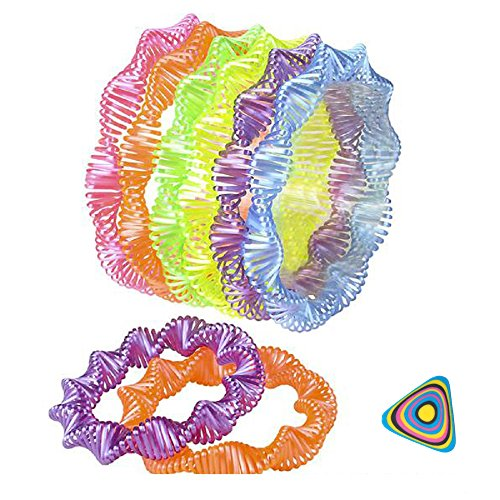 Shop Zoombie Neon Twist Coil Spring Bracelets 24 Pack and 1 Vortex Eraser- Party Favor, Good Bags, Prizes, Class Parties, (Twist Coil Bracelet)