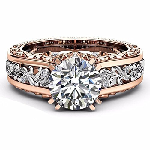 Clearance Fashion Women Luxuxy Color Separation Rose Gold Diamond Wedding Engagement Floral Ring (Silver, 8)