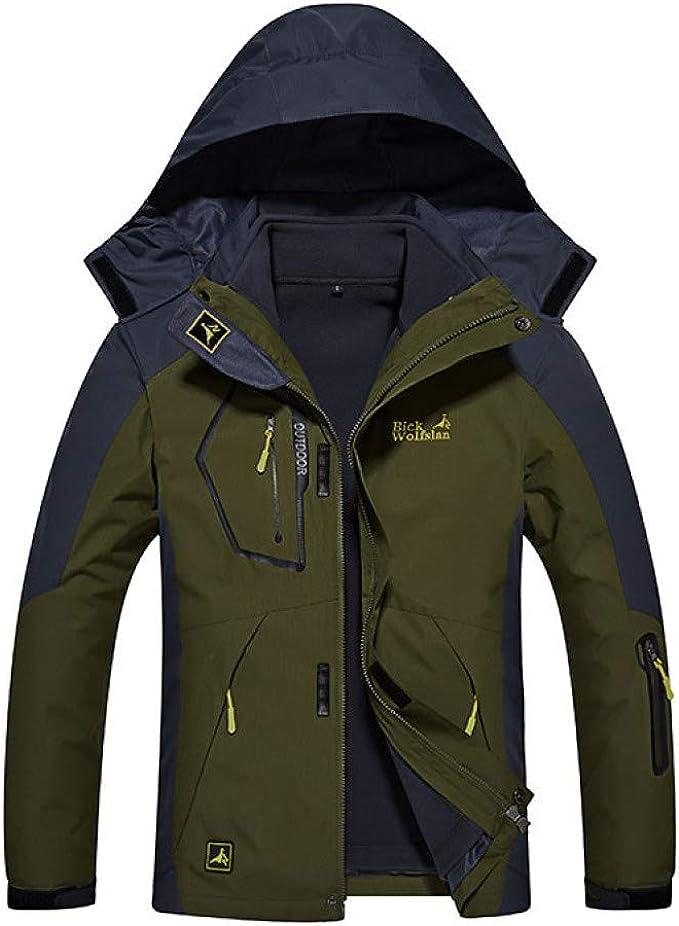 miiooper Mens Outdoor Jacket with Hood Detachable Waterproof Sport Mountain Jackets Coat for Hiking Camping Ski
