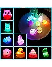 Lictin Baby drijvend speelgoed - 8 STKS Bad Speelgoed Lichtgevend, Licht Up Speelgoed Set met Opbergtas Badkuip Drijvend Speelgoed met Leuke Dieren voor Kinderen in Badtijd