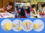 Gift Prod 20 Pcs Round Stencil Sponge Wooden Handle Foam Brush Furniture Art Crafts Painting Tool Supplies Painting Stippler Set DIY Painting Tools in 5 Sizes for Kids