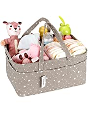 Hinwo Babyluier Caddy 3-compartiment Infant Nursery Tote Storage Box Portable Organizer Pasgeboren douchegiftmand met verwijderbare verdeler 10 onzichtbare luiertassen